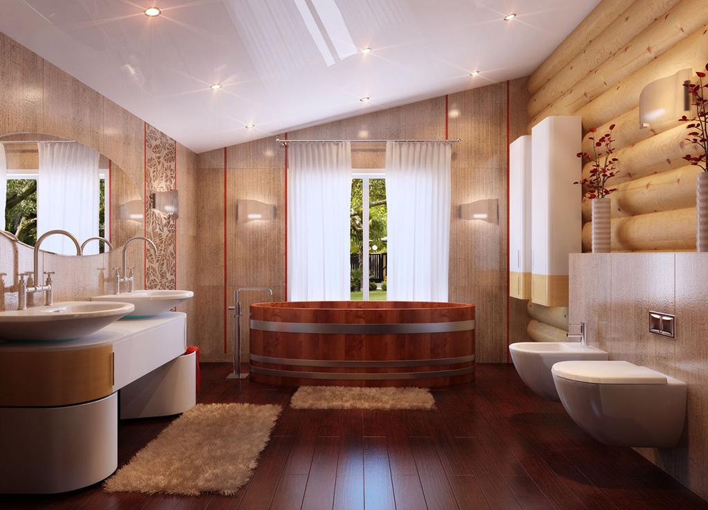 Натяжной потолок в ванной деревянного дома
