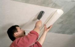 Особенности поклейки обоев на потолок из гипсокартона