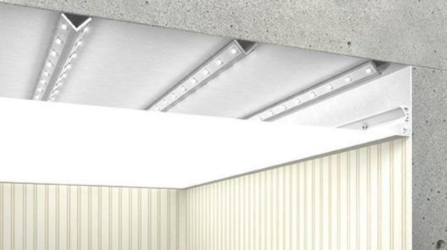 Конструкция полупрозрачного натяжного потолка с подсветкой
