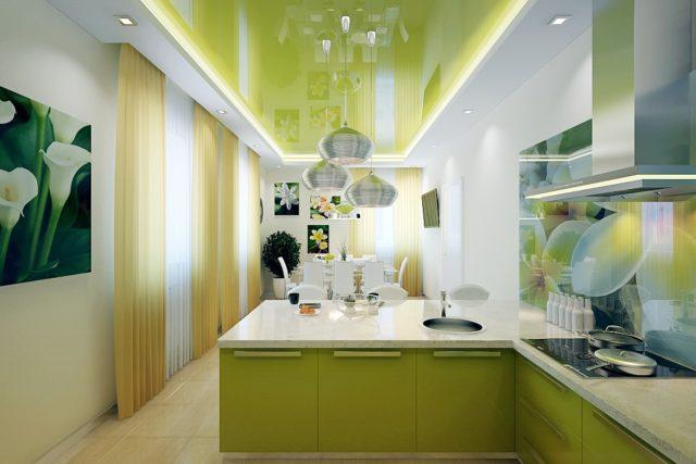 ПВХ-потолок на кухне