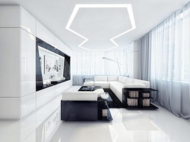 Потолок в стиле хай-тек с оригинальным освещением