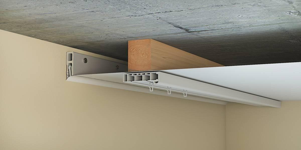 Схема крепления карниза к натяжному потолку через брус