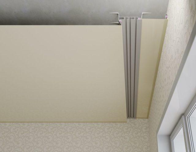 Скрытая ниша для штор с использованием гардинного профиля