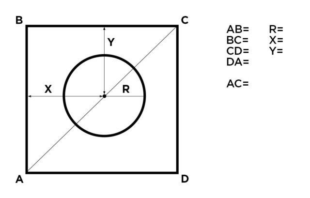 Прямоугольный потолок с круглым вырезом.