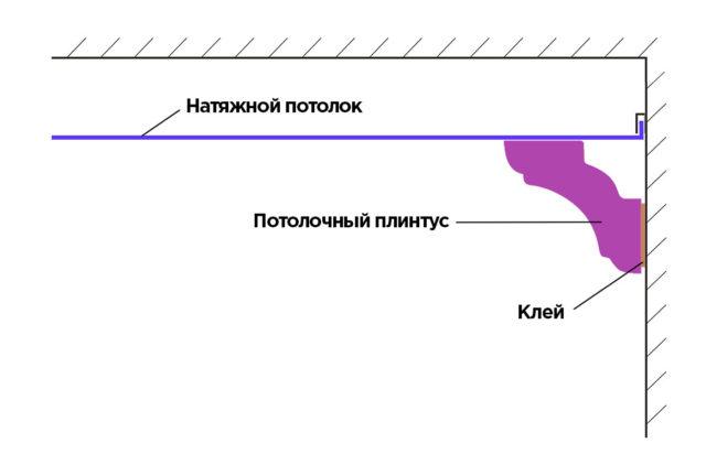 Схема крепления потолочного плинтуса с натяжным потолком