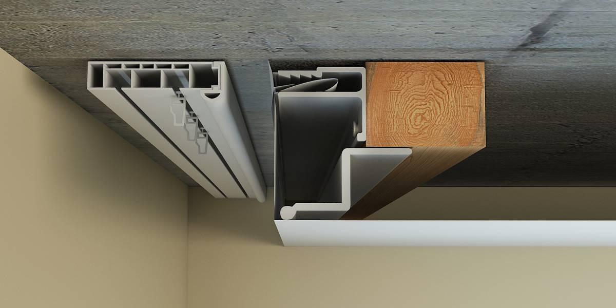 Схема устройства скрытой ниши с перегибом полотна