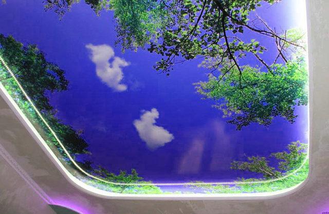 Фотопечать небо на потолке