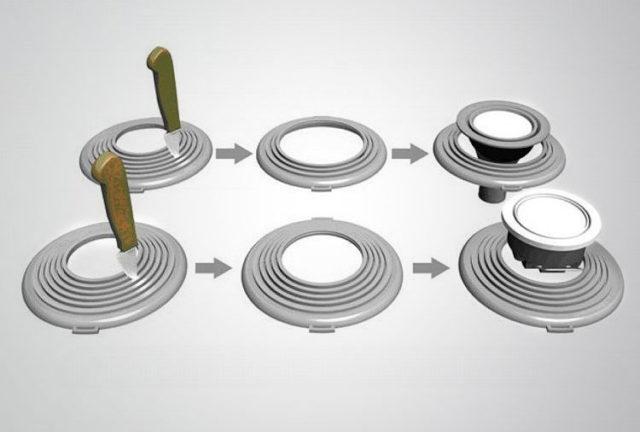 Внутренние кольца платформы вырезают по размеру светильника