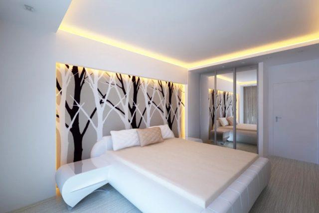 Диодное освещение в спальне
