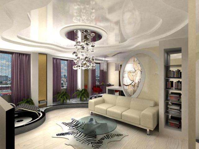 Белый многоуровневый потолок с цветным центром