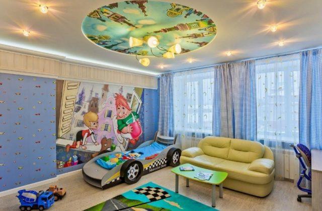 Потолок с фотообоями в детскую