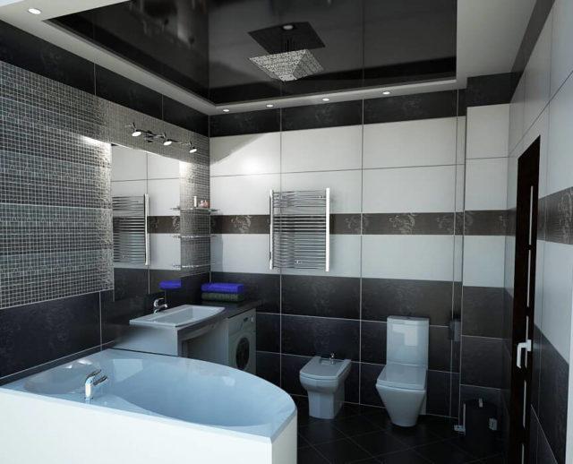 Черно-белый потолок в ванную