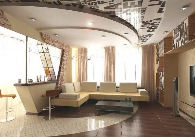 Многоуровневый потолок с точечным светом в гостиной