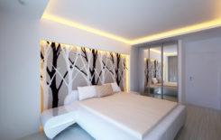 Выбор дизайна натяжного потолка для спальни