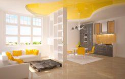 Идеи дизайна интерьера с натяжным потолком желтого цвета