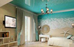 Идеи дизайна интерьера с натяжным потолком бирюзового цвета