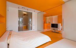 Натяжные потолки оранжевого цвета в интерьере