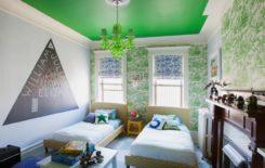 100 интерьеров с зеленым натяжным потолком
