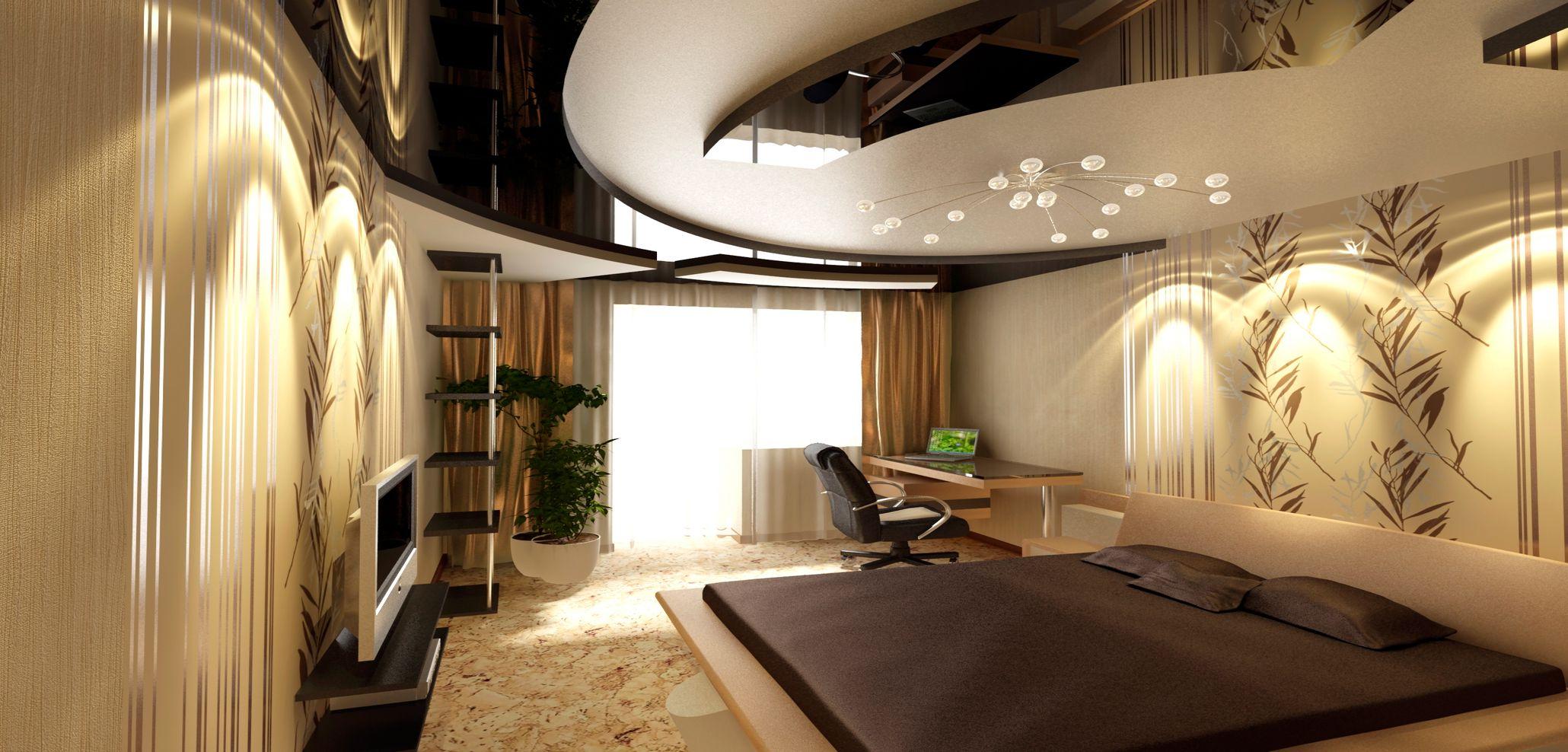 Пленочный двухуровневый потолок в интерьере