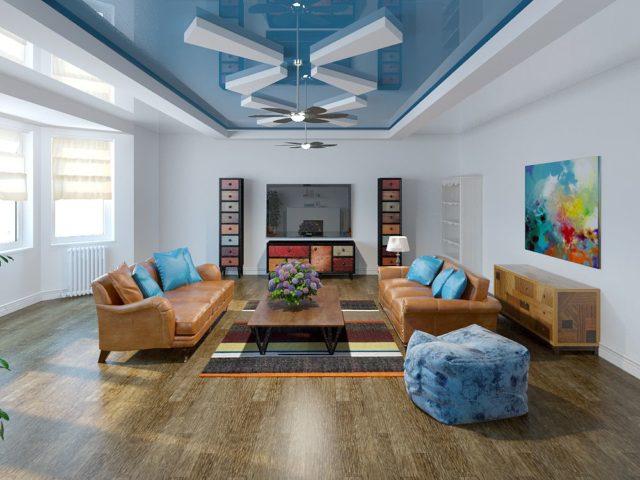 Двухуровневый голубой потолок