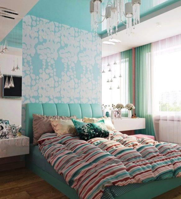 Двухуровневый потолок бирюзовый с белым