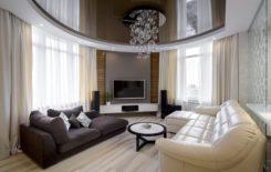 Дизайн интерьера с коричневым натяжным потолком