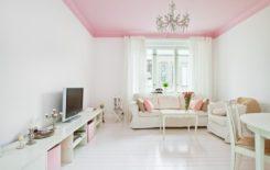 Примеры интерьеров с натяжным потолком розового цвета