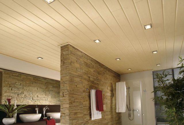 Светильники на потолке из пластиковых панелей в ванной