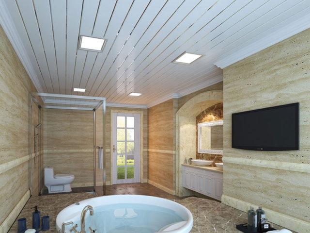 Подвесной реечный потолок в санузле открытого типа
