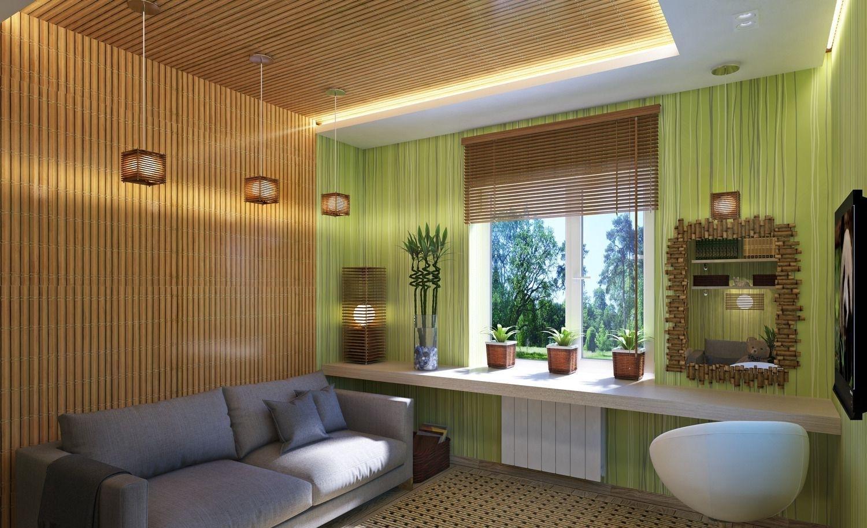 Бамбуковое полотно на потолке