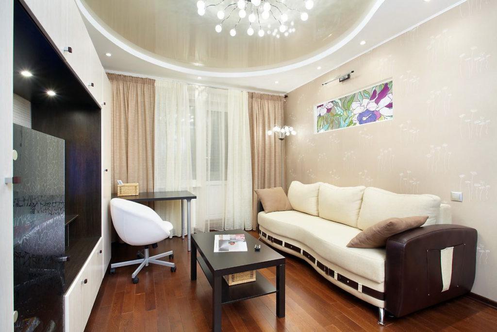 Точечное освещение в гостиной  по кругу