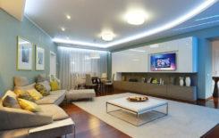 Варианты освещения зала и гостиной с натяжным потолком