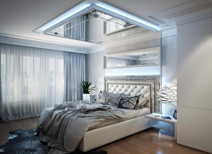 Зеркальная панель в спальне