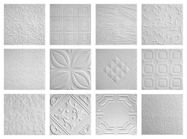 Виды рисунков потолочной плитки
