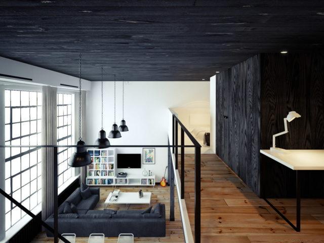 Черный деревянный потолок