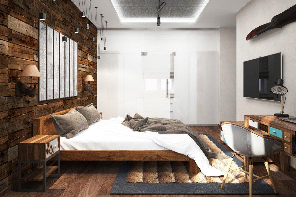 Потолок из ГКЛ в спальне лофт