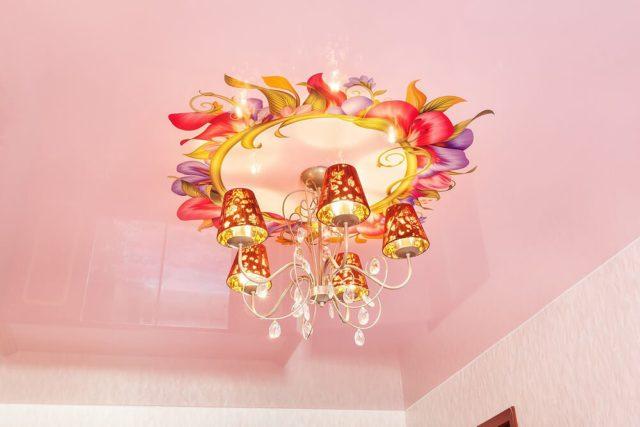 Цветная наклейка на потолок вокруг люстры