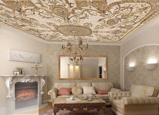 Фотообои с орнаментом на потолке