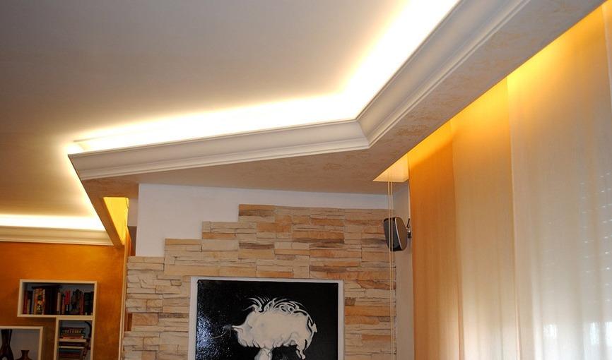 Двухуровневый потолок с подсветкой матового полотна