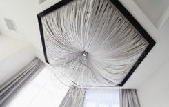 Драпировка потолка тканью: примеры оформления интерьера и способы отделки