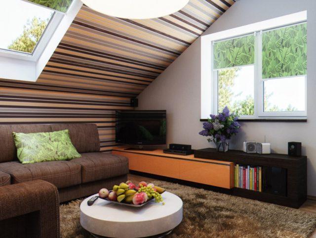 Потолок в полоску в гостиной